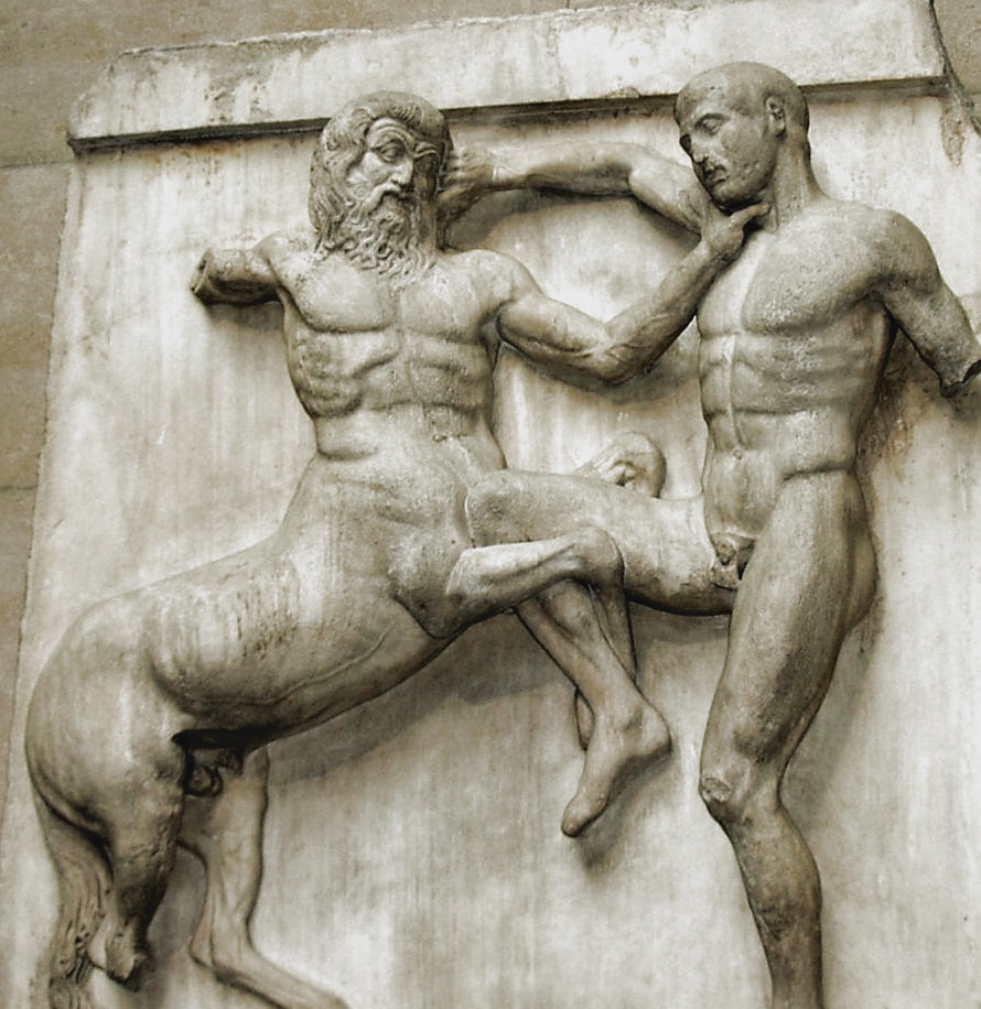 Metope from the Elgin marbles depicting a Centaur and a Lapith fighting