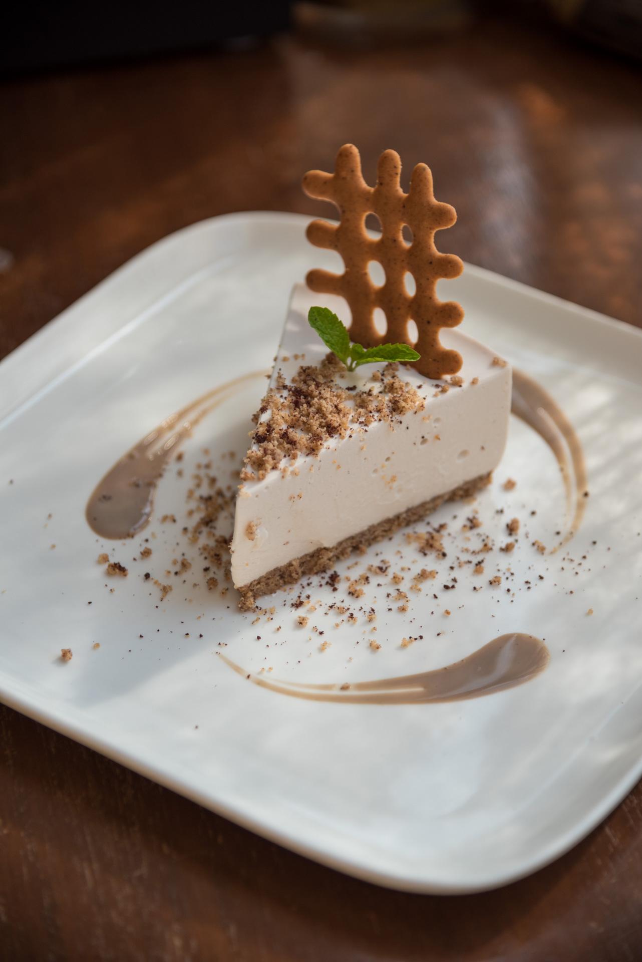 Cacao Nib and Soya Milk Cheese Cake with a Nachini Crust/©Smoke House Deli