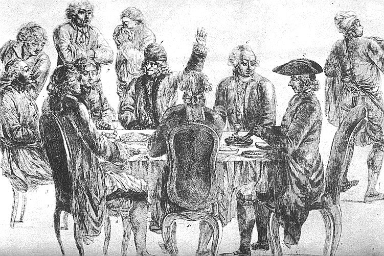 Voltaire and Diderot at the Procope © Jean Huber l WikiCommons