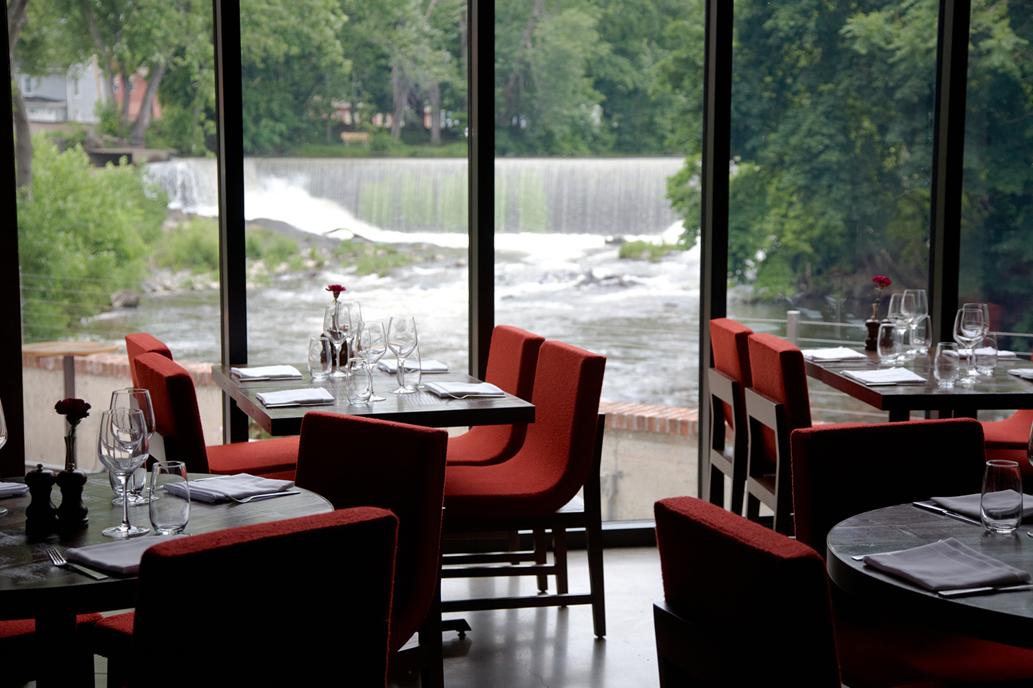 View Of Beacon Falls From The Restaurant At The Roundhouse, Main Dining Room  | ©