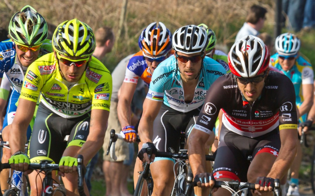 Five-time E3 Harelbeke champion Tom Boonen amidst Pozzato and Cancellera | © Flip Bossuyt/Wikimedia Commons