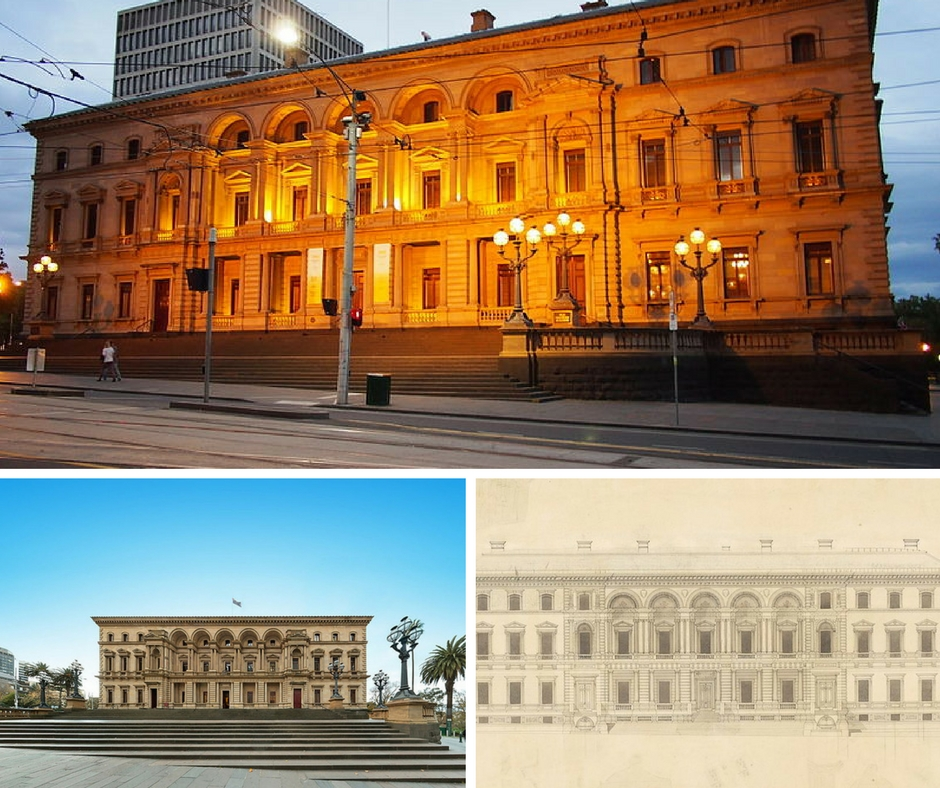 Old Treasury Building at dusk Dec 2012 © Nick-D/WikimediaCommons | OTBfrontCOLOUR2 © Gil Meydan/WikimediaCommons | Old Treasury Building facade © State Library of Victoria/WikimediaCommons