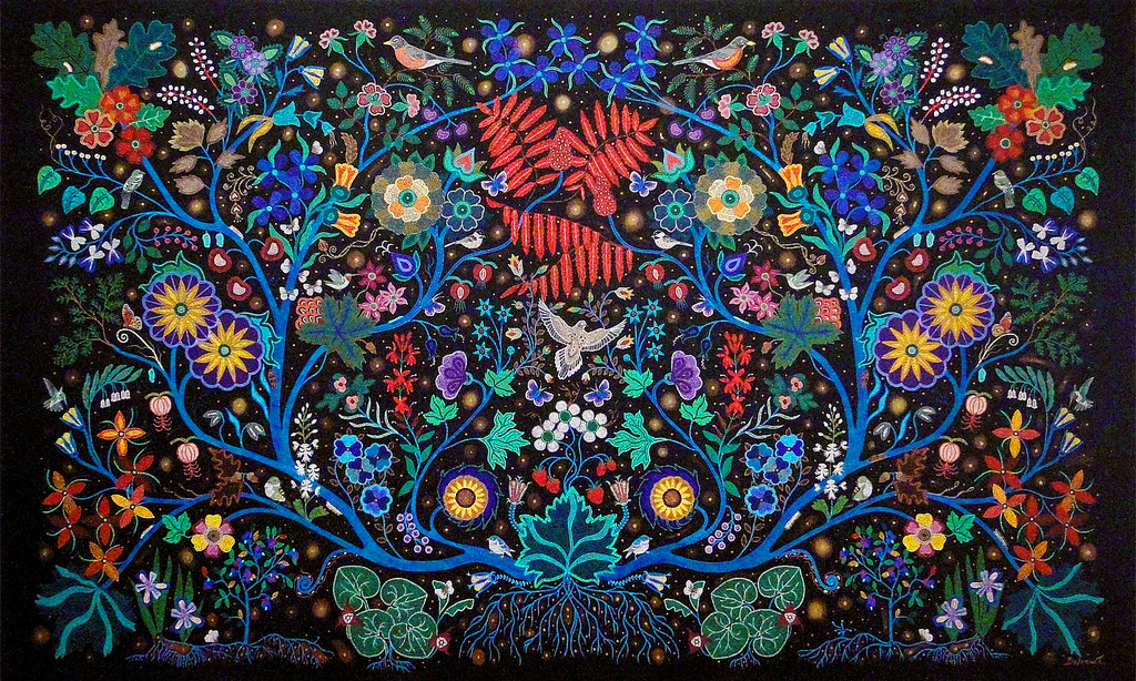 Christi Belcourt, The Wisdom of the Universe, 2014, acrylic on canvas, 171 × 282 cm, purchased with funds donated by Greg Latremoille, 2014   © 2014 Christi Belcourt.