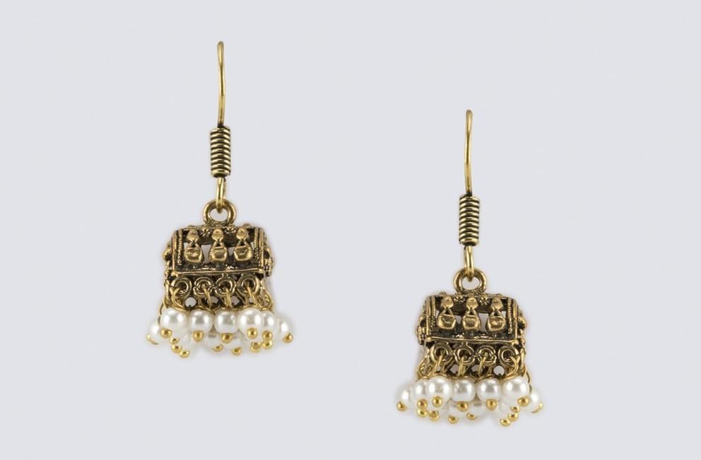 Metal Anusuya Jhumka Earrings|Fabindia