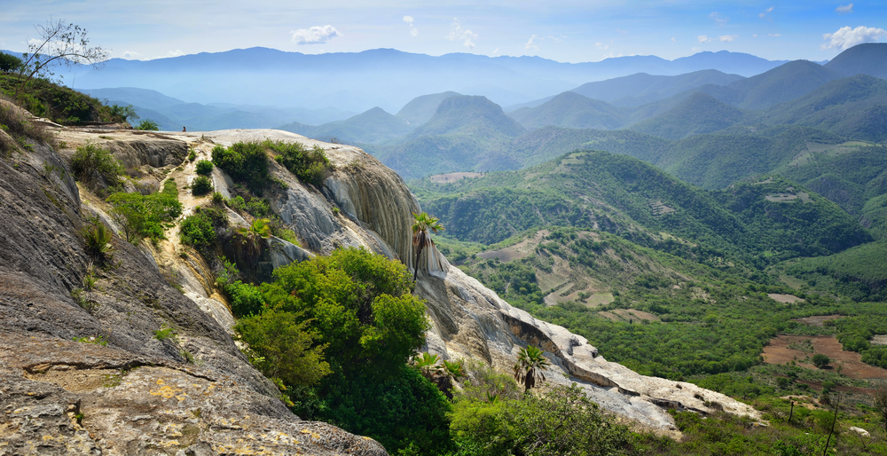 panoramic views of the mountains from the hot springs hierve el agua in oaxaca mexico