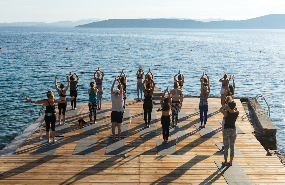 Olivia Marley teaching yoga at Obonjan | Courtesy of Henry Marshall