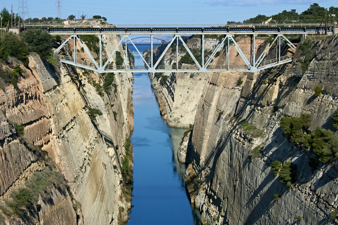 The Corinth Canal, which turned the Peloponnese peninsula into an island 24