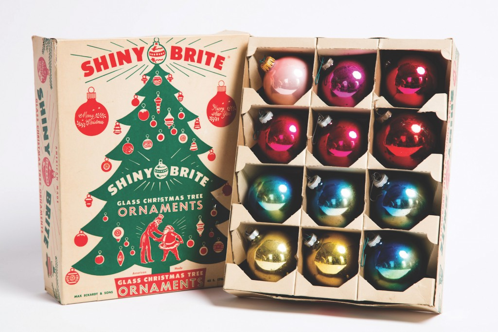 Assorted Shiny Brite ornaments from the 1950s and 1960s, shown in a box from the same period | © Jeffrey Stockbridge