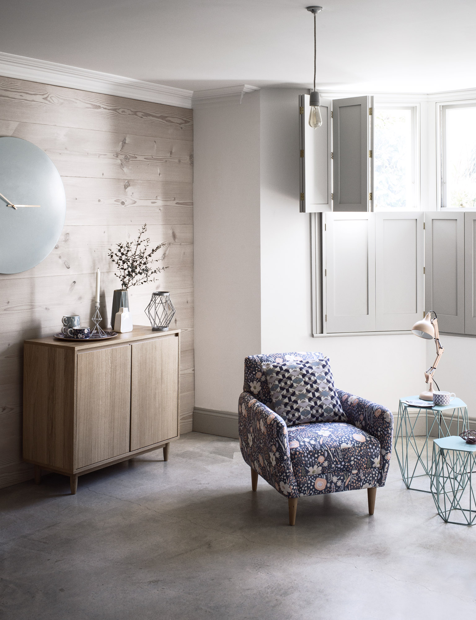 A mix of pale woods and subtle touches of harmonious colour makes this a successful scheme | Courtesy of Marks & Spencer
