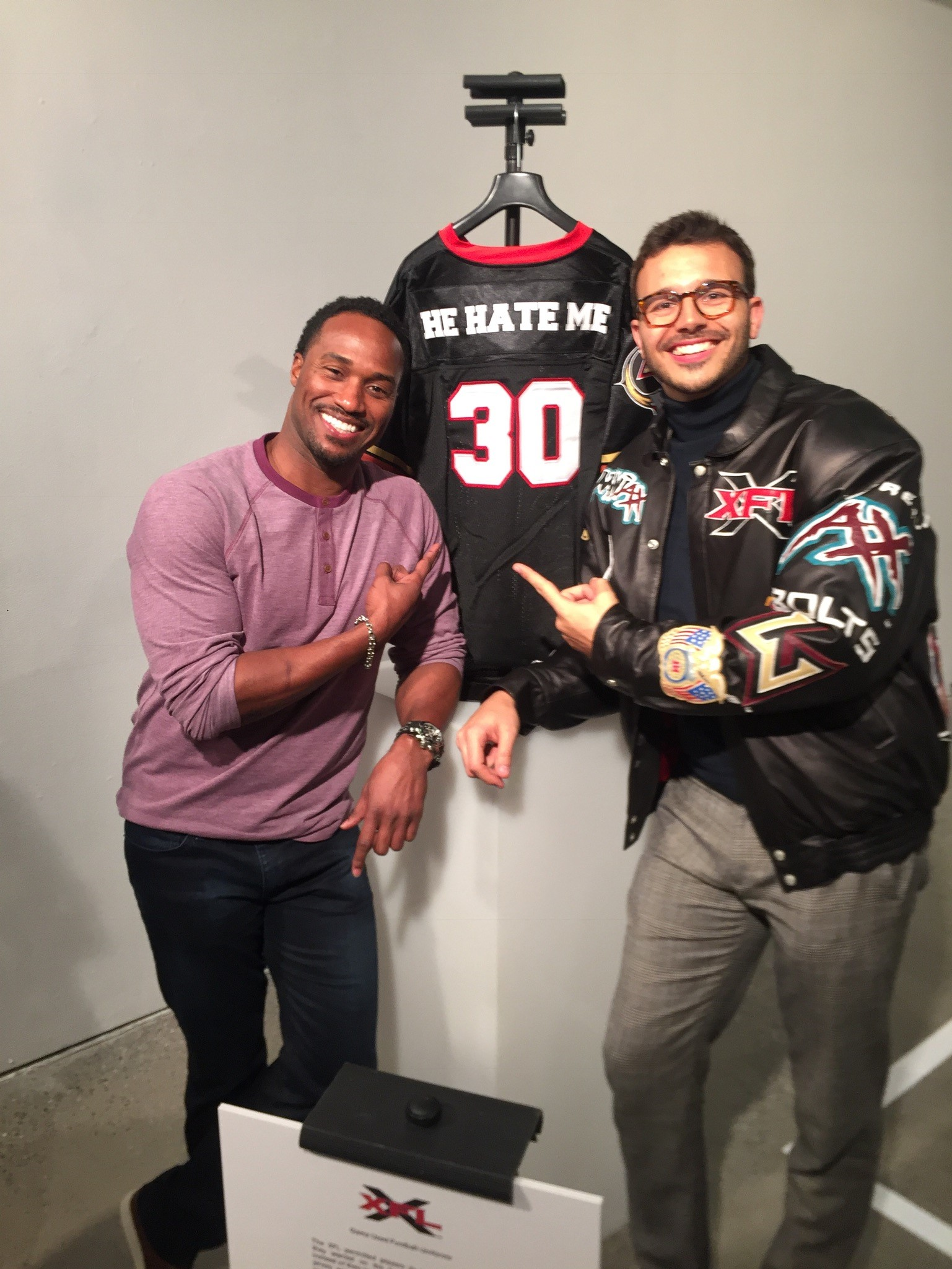 Rod Smart (left) and ESPN 30 for 30 director Charlie Ebersol at the XFL Hall of Fame | © Charlie Ebersol