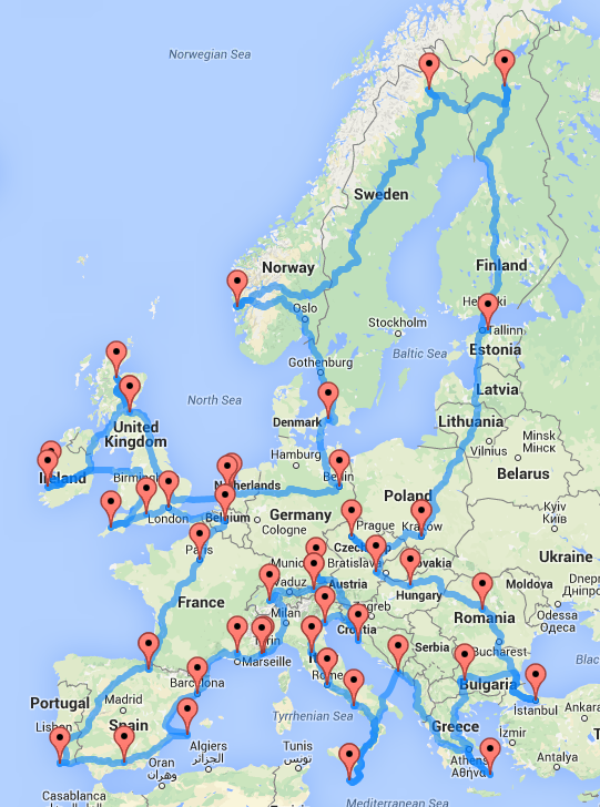Map Of Europe France.This Map Shows The Quickest And Ultimate Road Trip Across Europe