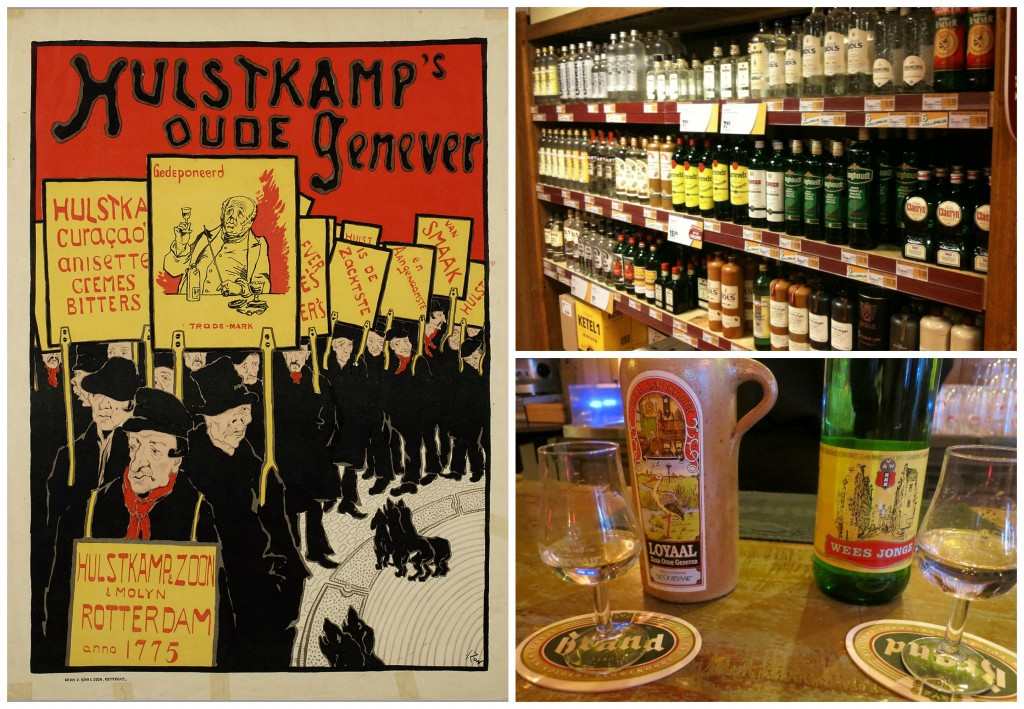 An advertisement for Hulstkamps Oude Jenever by Jacques Zon   © public domain / Jenever bottles at a Dutch off license   © cafuego / flickr / Two glasses of jenever   © MollySVH / flickr