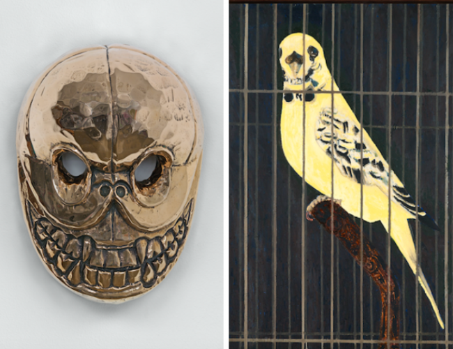 Left: Sherrie Levine Nepalese Chapati Mask, 2015, Courtesy David Zwirner, New York/London | Right:Mamma Andersson Death Mask, 2016, Courtesy David Zwirner, New York/London
