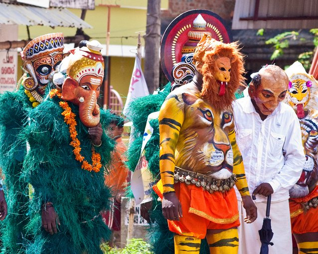 Pulikali, part of the Onam Festival in Kerala | © Joseph JoyC/Flickr