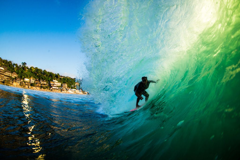 Muklis Anwar getting barreled in Bali | © Luke Forgay/Volcom