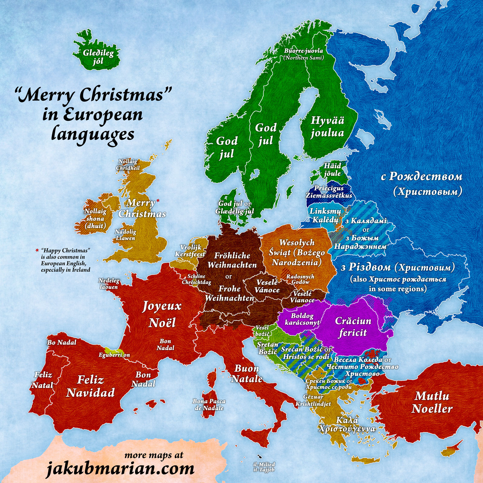 this map shows you how to say merry christmas in every european language - How Do You Say Merry Christmas In Greek