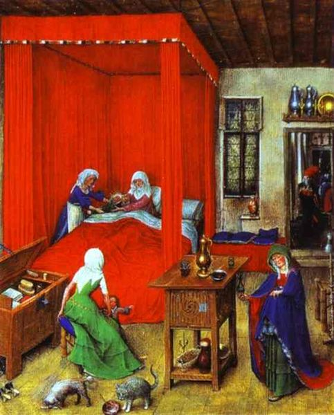 Jan van Eyck, 'The Birth of John the Baptist' (1422) | WikiCommons