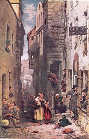 Dowie's Tavern, Libberton's Wynd   drawn by George Cattermole [Public Domain] / via WikiCommons