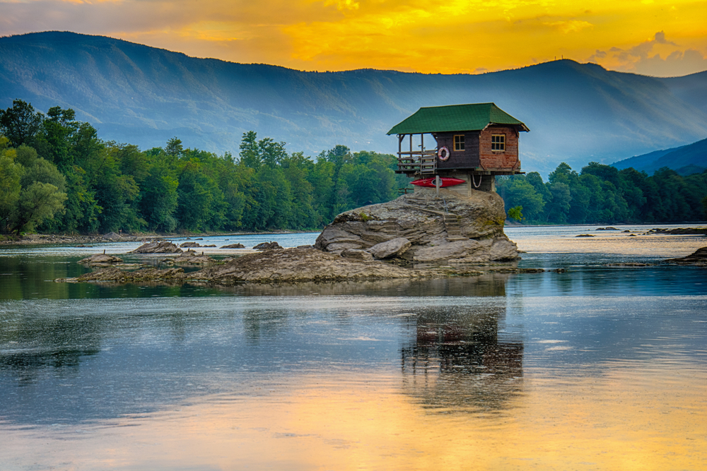 Serbia Drina River Home Iconic House on The River