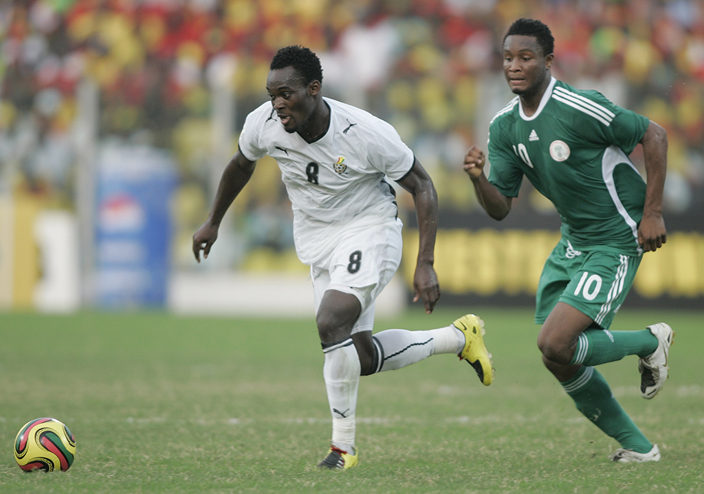 Chelsea team mates Michael Essien of Ghana and John Obi Mikel of Nigeria, Africa Cup of Nations