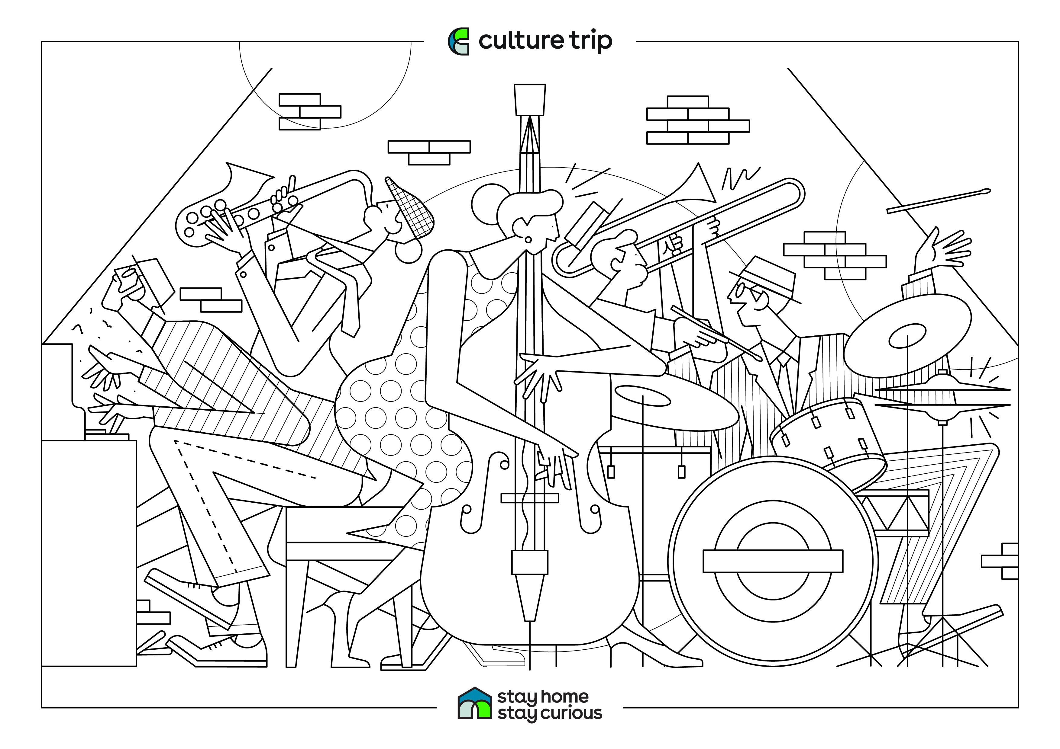 dulemba: Coloring Page Tuesday - Jazz Cat | 2481x3508